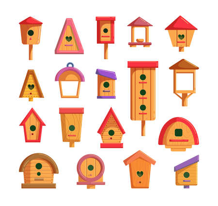 Decorative wooden birdhouse set for feeding and living bird. Outside handcraft hanging nesting box, birdie house construction on pillar different shape vector illustration isolated on white background
