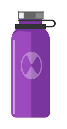 Purple thermo bottle item isolated on white background  イラスト・ベクター素材