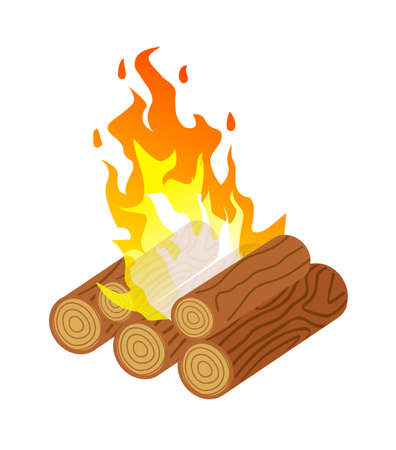 Danger sparkle firewood fire isolated on white background