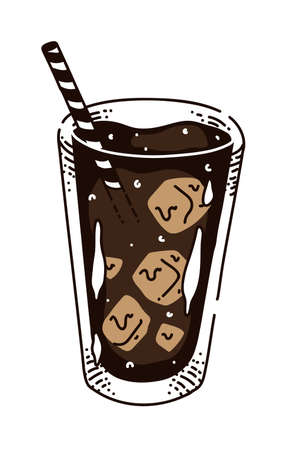 Irish iced coffee in glass with straw on white background