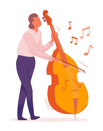 Man bass cello music instrument player on white background