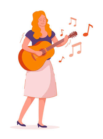 Woman musician playing guitar isolated on white background
