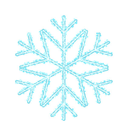 Vector frozen crystal snowflake isolated on white background