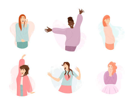 Happy smile expression multiethnic girl jumping and dancing. Young beautiful emotional woman with different raised hand gesture smiling laughing vector illustration isolated on white background Çizim
