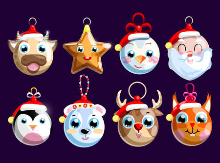 Christmas bauble and decoration for holiday pine tree set. Hanging xmas star mascot, ball with cute animal muzzle and snowman, Santa Clause face vector illustration isolated on dark background 矢量图像
