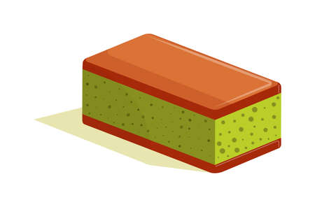 Sponge cake with matcha green tea addition isolated on white Vettoriali