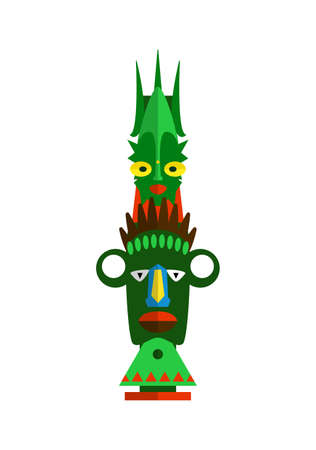 Wood indian colorful totem pole isolated on white background 矢量图像