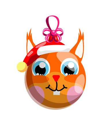 Funny squirrel christmas ball in santa hat isolated on white 矢量图像