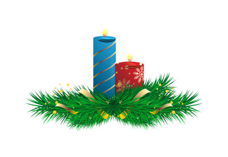 Christmas tree branch and burning candle isolated on white Illustration