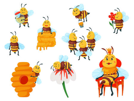 Cartoon funny yellow bee mascot and honeybee family set. Flying with honey busy insect, smelling flower and resting character, bee queen and beehive vector illustration isolated on white background Illusztráció