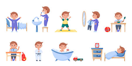 Schoolchild daily life routine, everyday schedule and rest. Boy doing morning hygiene and physical activity, studying at school and additional sport lesson vector illustration isolated on white