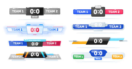 Scoreboard for football sport game match team competition set. Goal score board lower thirds template for information display during tournament illustration isolated on white background