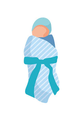 Newborn baby child wrapped in blue blanket on white