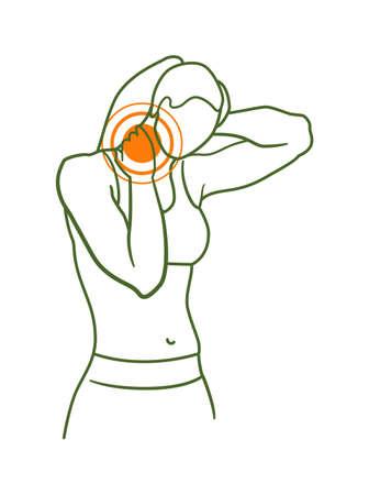 Neck injury pain pointer in female body isolated on white Vektoros illusztráció