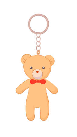 Bear pendant on silver keychain souvenir isolated on white