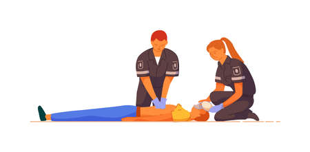 Paramedic giving indirect heart massage first aid to patient