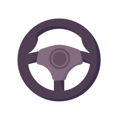 Steering wheel driving school symbol on white background Stock Illustratie