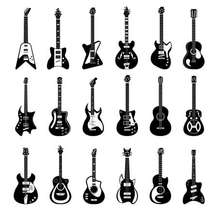 Electric and acoustic guitar music instrument silhouette set. Concert musical bass, jazz, pop, heavy metal, classical stringed musician equipment vector illustration isolated on white background
