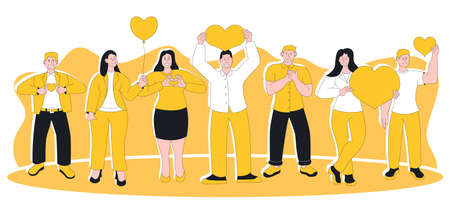 People feeling sincere grateful and appreciation emotion. Pleased positive happily smiling man woman with hand on chest and heart showing gratitude and kindness expression vector illustration 矢量图片