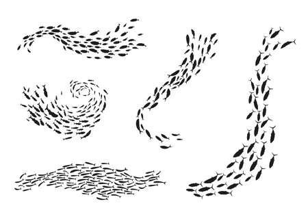 School of fish silhouette underwater flow set Ilustración de vector