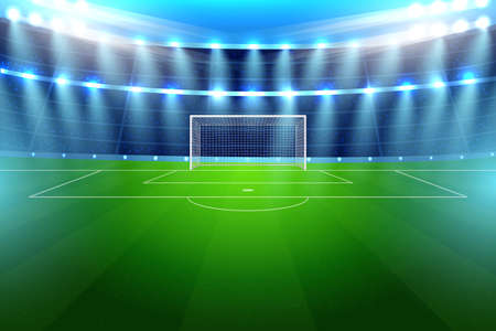 Realistic soccer stadium for football team game match