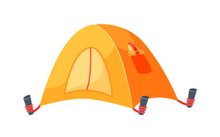 Touristic camping tent isolated on white background