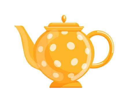 Dotted ceramic teapot isolated on white background