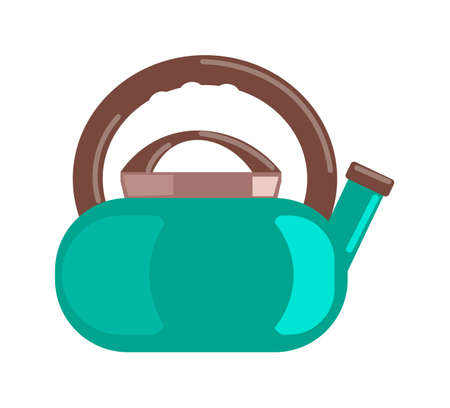 Colored steel teapot kettle isolated on white background 向量圖像