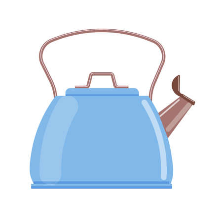 Blue teapot kettle isolated on white background