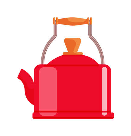 Red teapot cartoon isolated on white background