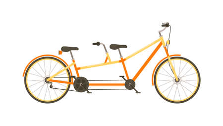 Tandem bicycle isolated on white background