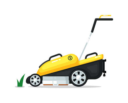 Automated robotic lawn mover isolated on white
