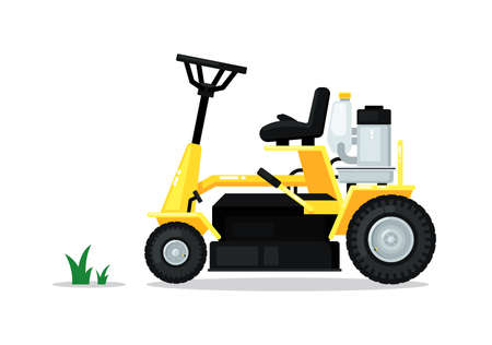 Lawn mower car garden isolated on white background 向量圖像
