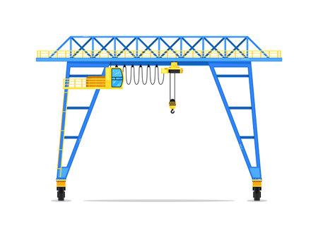 Crane tower construction technics isolated on white