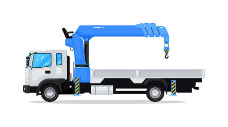 Auto crane truck commercial machinery isolated on white