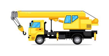 Isolated construction machinery truck auto crane 向量圖像
