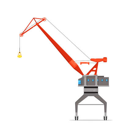 Construction site tower crane isolated on white 向量圖像