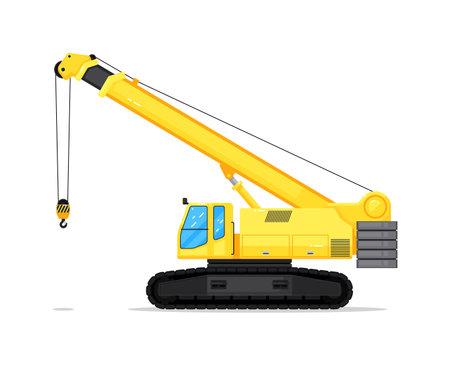 Excavator with crane isolated on white background
