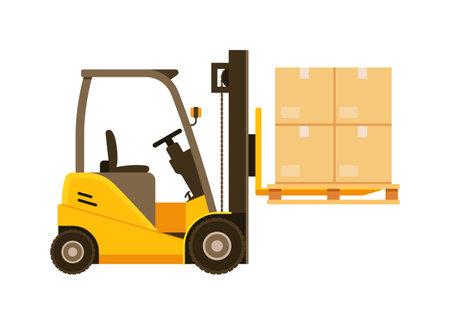 Forklift truck isolated on white background Векторная Иллюстрация