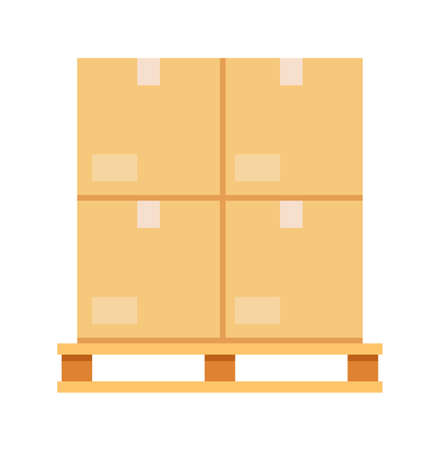 Parcel cargo box pallet isolated on white background 向量圖像