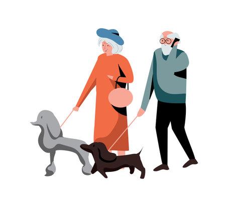 Old couple walking dog isolated on white background