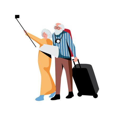 Elderly couple tourist isolated on white background