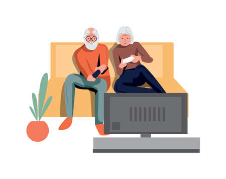 Elderly couple play video game isolated on white 向量圖像