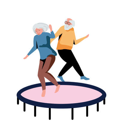 Elderly couple jumping on trampoline isolated on white 向量圖像