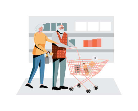 Elderly couple shopping at supermarket grocery store 向量圖像