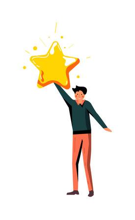 Man holding star isolated on white background 向量圖像