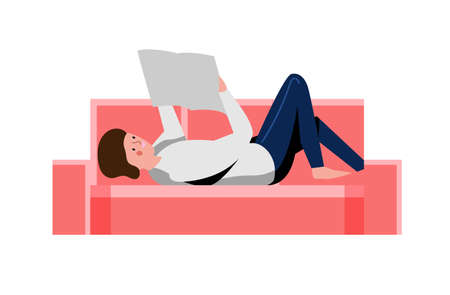 Man student reading on sofa isolated on white 向量圖像