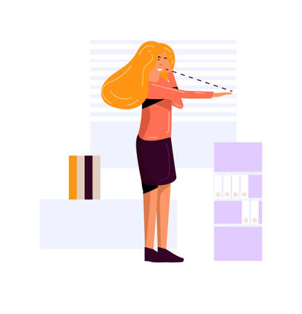 Woman office worker eye relaxation exercises isolated 向量圖像