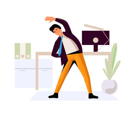 Businessman do office fitness exercise at workplace
