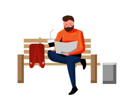 Man freelancer reading book on bench isolated on white
